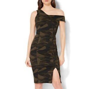 One Shoulder Camo Dress